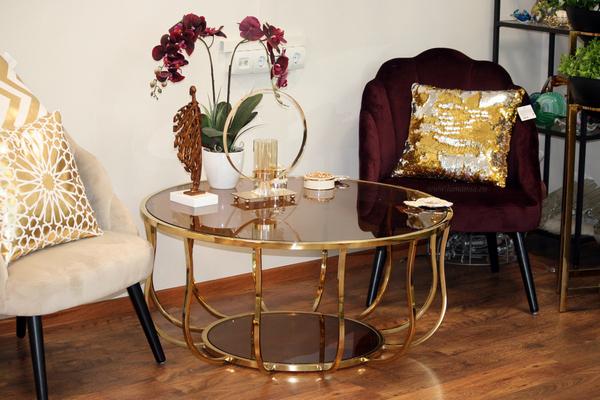 Столик круглый с золотым корпусом 13RXCT4032-GOLD купить в интернет магазине lamamia.ru, бесплатная доставка по Москве