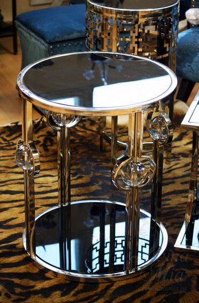 Столик с чёрным стеклом 13RXET6034-SILVER в интернет магазине lamamia.ru