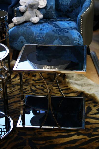 Столик с чёрным стеклом 13RXET6048-SILVER в интернет магазине lamamia.ru