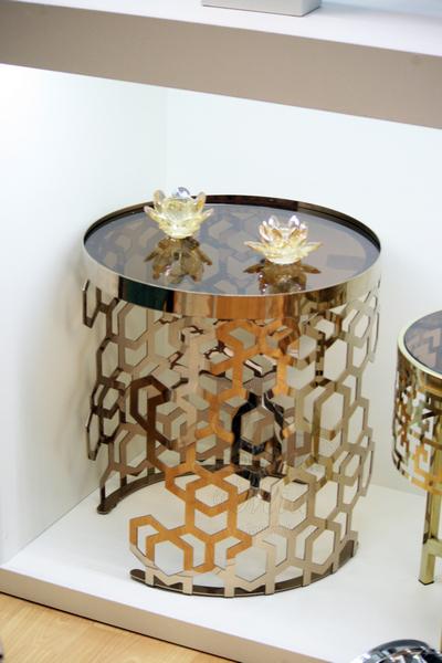 Столик с коричневым стеклом 13RXET8011-GOLD в интернет магазине lamamia.ru