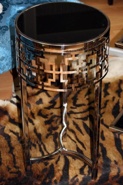 Столик с чёрным стеклом 13RXFS5080L-SILVER в интернет магазине lamamia.ru