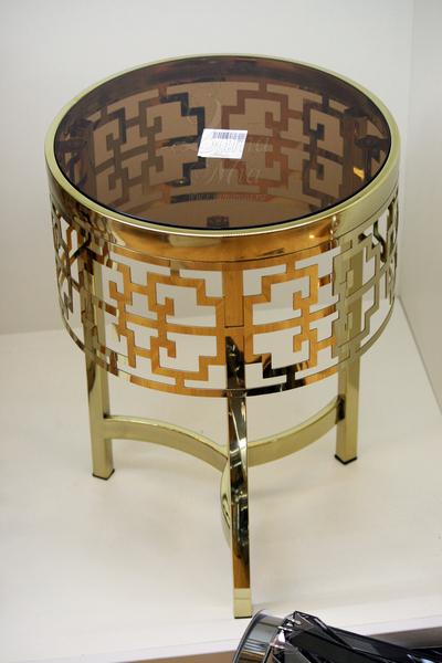 Столик круглый золотистый со стеклом 13RXFS5080M-GOLD купить в интернет магазине lamamia.ru