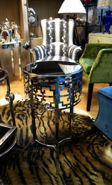 Столик с чёрным стеклом 13RXFS5080M-SILVER в интернет магазине lamamia.ru