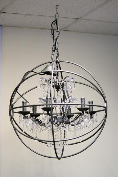 15-D6002-6 Светильник потолочный серый круглый с хрустальными кристаллами купить в интернет магазине lamamia.ru