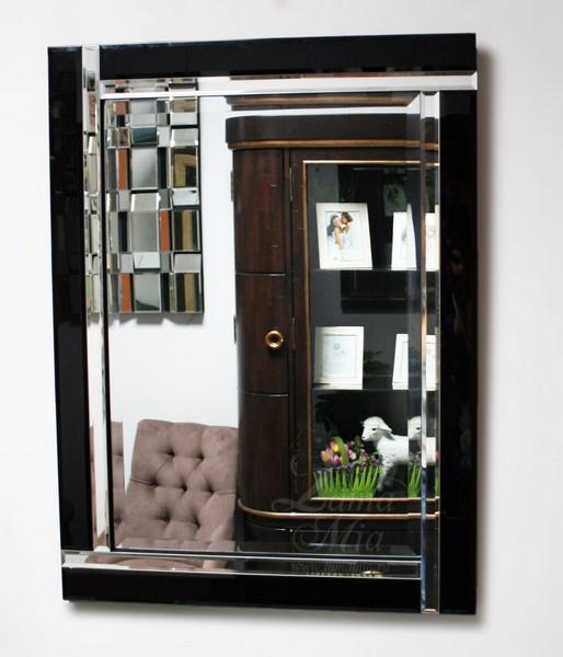 Зеркало настенное с чёрной стеклянной рамой 17-8010 купить в интернет магазине lamamia.ru с бесплатной доставкой по Москве
