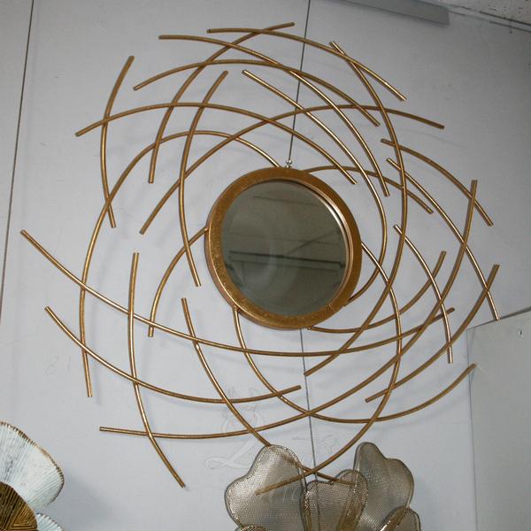 Зеркало металлическое золотое 19-ОА-6046 купить в интернет магазине lamamia.ru