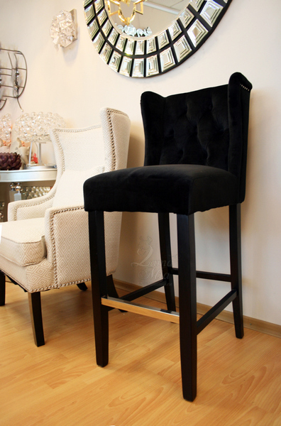 Барный стул велюровый чёрный 24YJ-8084-07329 купить в интернет магазине lamamia.ru с бесплатной доставкой