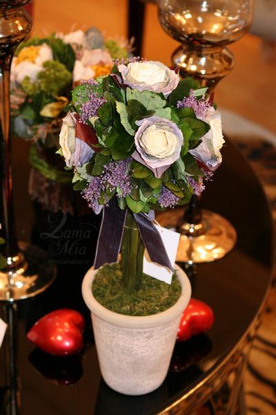 Цветы стабилизированные в горшке (розы) 34JN-098 купить в интернет магазине lamamia.ru
