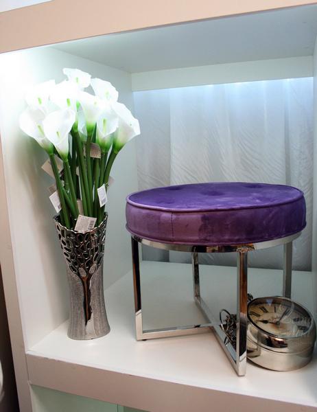 Банкетка круглая сиреневая на хромированном основании 47ED-BEN003-LV купить в интернет магазине lamamia.ru