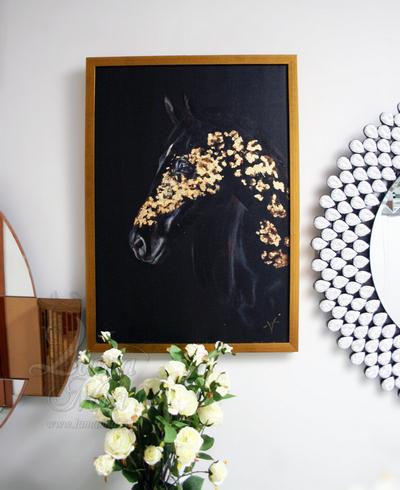 Панно Арабский скакун в золотом багете 89VOR-AQUARELLE15 купить в интернет магазине lamamia.ru, бесплатная доставка по Москве