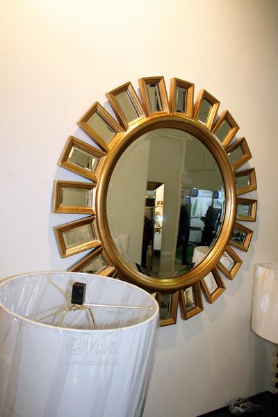 Зеркало круглое с золотистой рамой Эштон GC1533 купить в интернет магазине lamamia.ru