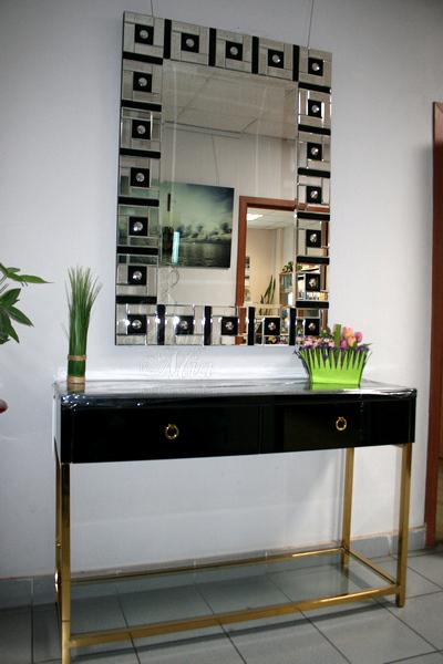 Купить консоль чёрную зеркальную с золотыми ножками KFC762 в интернет магазине lamamia.ru