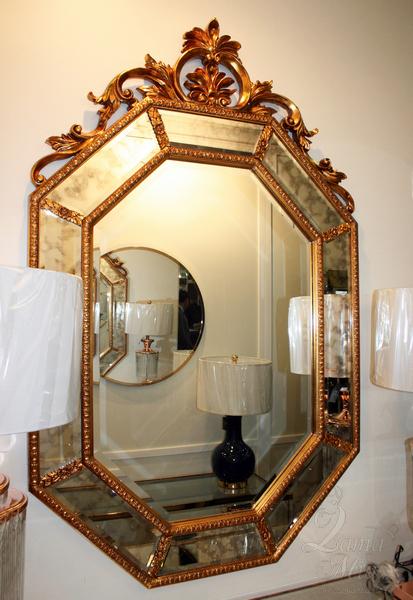 Зеркало Лидс венское в золотой раме LH127HDG купить в интернет магазине lamamia.ru