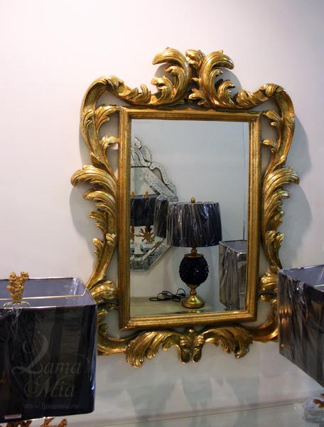 Зеркало прямоугольное в классической золотой раме Прадо LH251 купить в интернет магазине lamamia.ru