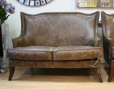 Купить диван на два места из английской винтажной кожи PJS11902-PJ437 в интернет магазине lamamia.ru