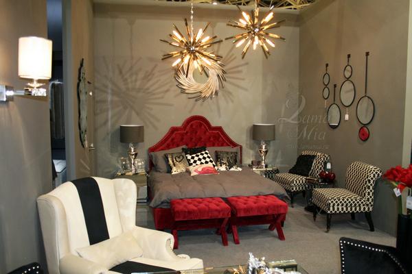 Кровать красная двуспальная с изголовьем капитоне Province RE купить в интернет магазине lamamia.ru