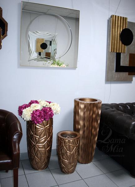 Кашпо тёмно-золотое, 68 см ZSC1575-27 купить в интернет магазине lamamia.ru