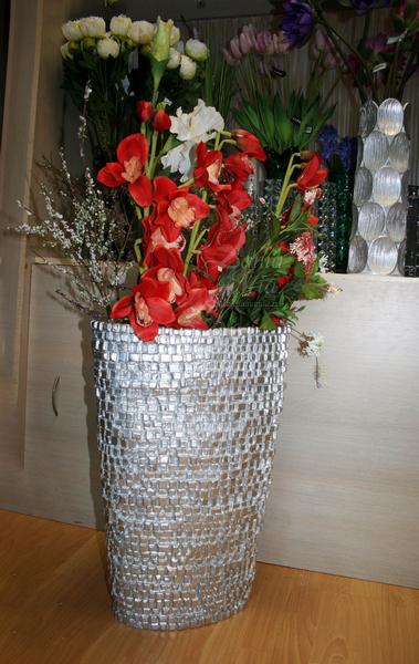 Кашпо напольное серое с мозаичным рельефом ZSC829-24 купить с бесплатной доставкой в интернет магазине lamamia.ru