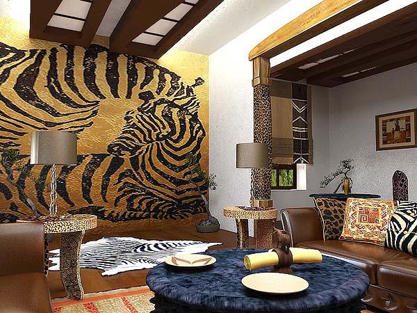 Шкура зебры в интерьере африканского стиля