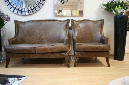 Диван и кресло из английской винтажной кожи в колониальном стиле