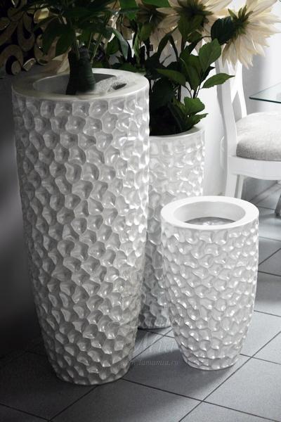 Кашпо жемчужно-белое напольное купить в интернет магазине lamamia.ru