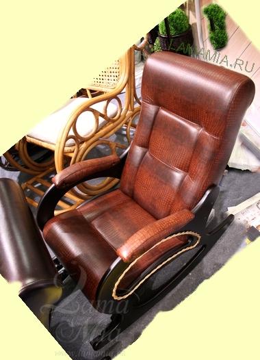 Кресло качалка Маэстро с обивкой кожей крокодила купить в интернет магазине lamamia.ru