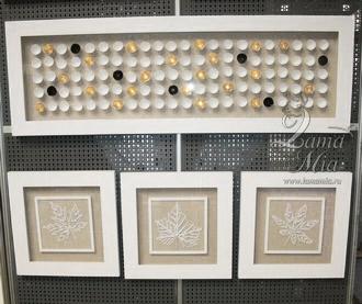 """Настенные панно """"100 полусфер"""", """"Листья белые"""", представленные на выставке МММС-2014"""