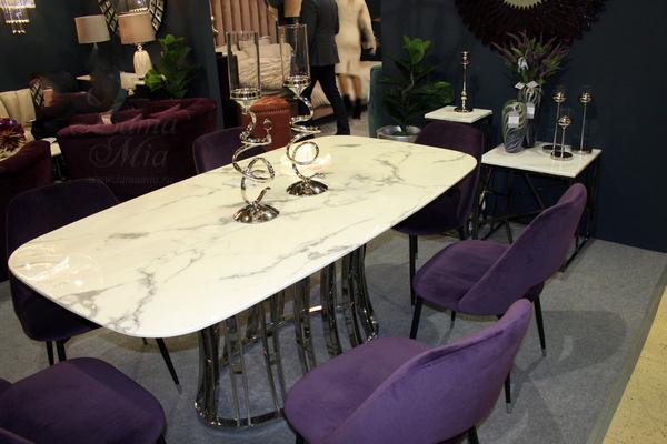 Стол обеденный светло-серый с каменной столешницей 45EX-DT122 купить в интернет магазине lamamia.ru