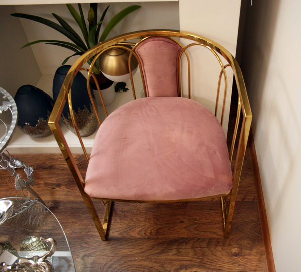 Стул золотой с розовым велюром, GY-DC8352GOLD-PK купить в интернет магазине lamamia.ru, бесплатная доставка по Москве