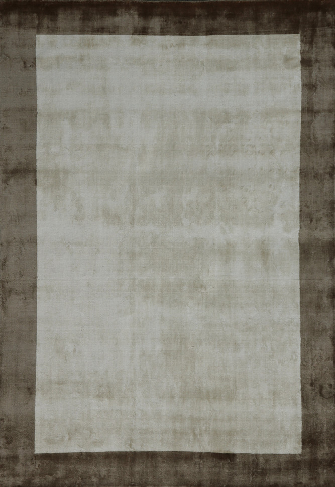 Ковер бежевый с кантом Viscose Plain volumetric Border (ivory/beige)